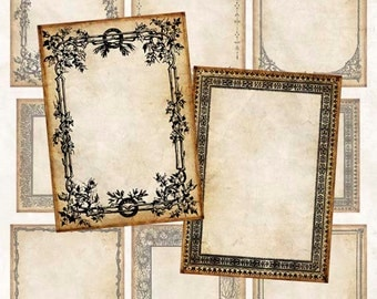 Digital Collage Sheet Bold Vintage Frames #1 Backgrounds Hang Tags ATC ACEO Instant Download ATC102