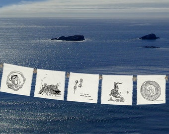FLAGS -  5 group Silk PRAYER FLAGS-Sea Prayers-Dragon-Mermaid-Dolphin-Sea Turtle-Wave-Prayers for the Ocean-beach weddings-Kahlil Gibran