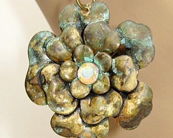Metal Earrings, Rose Earrings, Patina Green, Antique Rose, Flower Earrings, Large Rose, Modern Vintage, Metal Earrings