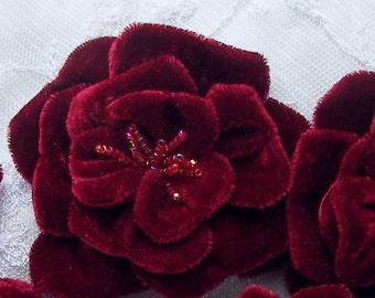 Glass Beaded Red Wine Velvet Fabric Rose Flower alligator Clip Hair Accessory