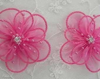 2 pc Fuchsia Organza flower applique w pearl bead crystal rhinestone for Hat Bridal Corsage Pin brooch barrette headband hair accessory