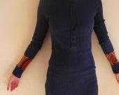 XS/S blue colourblocked tunic top / dress - extrasmall / small