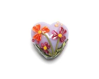 Handmade Glass Lampwork Bead - Morgan's Bouquet Heart Focal Bead - 11833505
