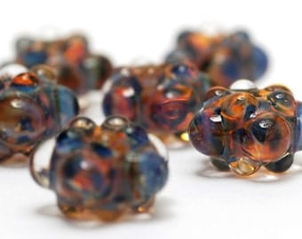 Handmade Glass Lampwork Beads - Six Multi-Colored Rondelle Beads - Bubbly Raised 10504001