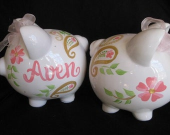 Personalized Piggy Bank pink and gold paisley