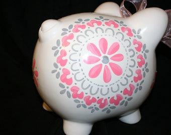 Personalized Piggy Bank damask pink and grey dahlia