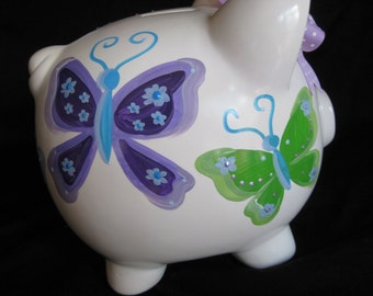personlaized piggy bank blue purple and green butterflies