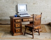 Vintage Dollhouse Desk and Chair and Desktop Computer