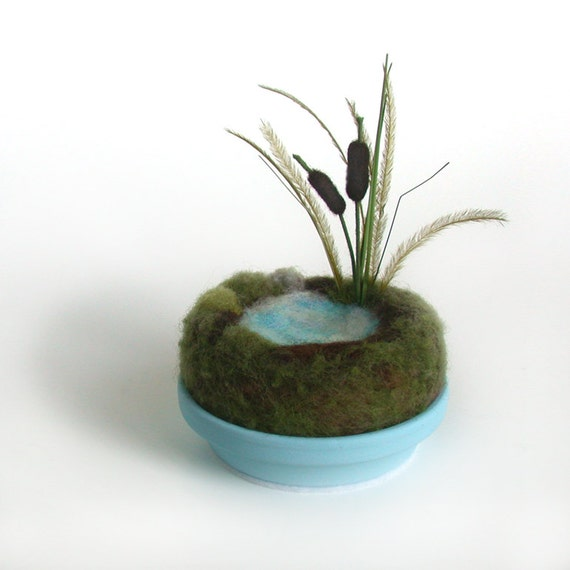 Cattails by the Pond Sculpture Home Decor - Miniature Desk Scene Made To Order