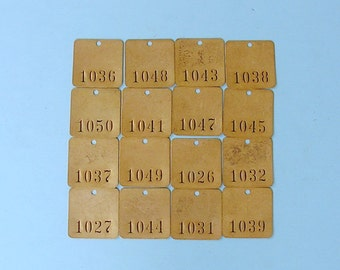Antique Vintage Brass Tag Tags Numbered Tags Number Tags Room Number Tags Locker Number Tags Steampunk Jewelry DIY Jewelry Tags