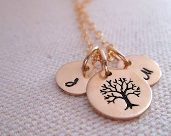 Family Tree Necklace - hand stamped necklace - gold mothers necklace