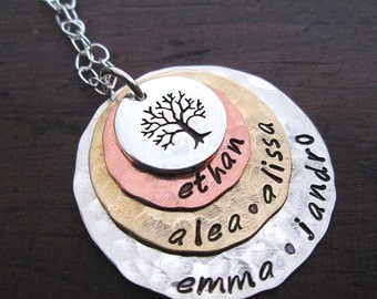 Family Tree necklace  - personalized necklace-  Extra Large Mothers Necklace - grandmother necklace - Custom gift for her - hand stamped