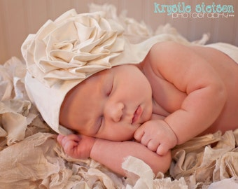 baby baptism Easter BONNET cotton large blooming flower, The PLAIN JANE in white or ivory custom newborn to 12 months