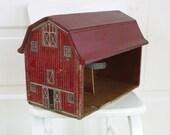 Vintage Wood Toy Barn Children Farm Red