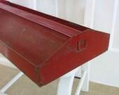 Vintage Box Metal Tote Tool Red Industrial Storage