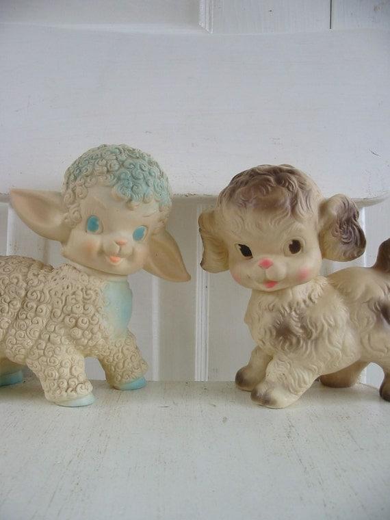 Vintage Rubber Toy Dog Puppy Sheep Lamb Squeak Baby Decor