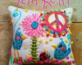 Original Freehand Embroidered Pillow  Any Theme Large Size Made to Order