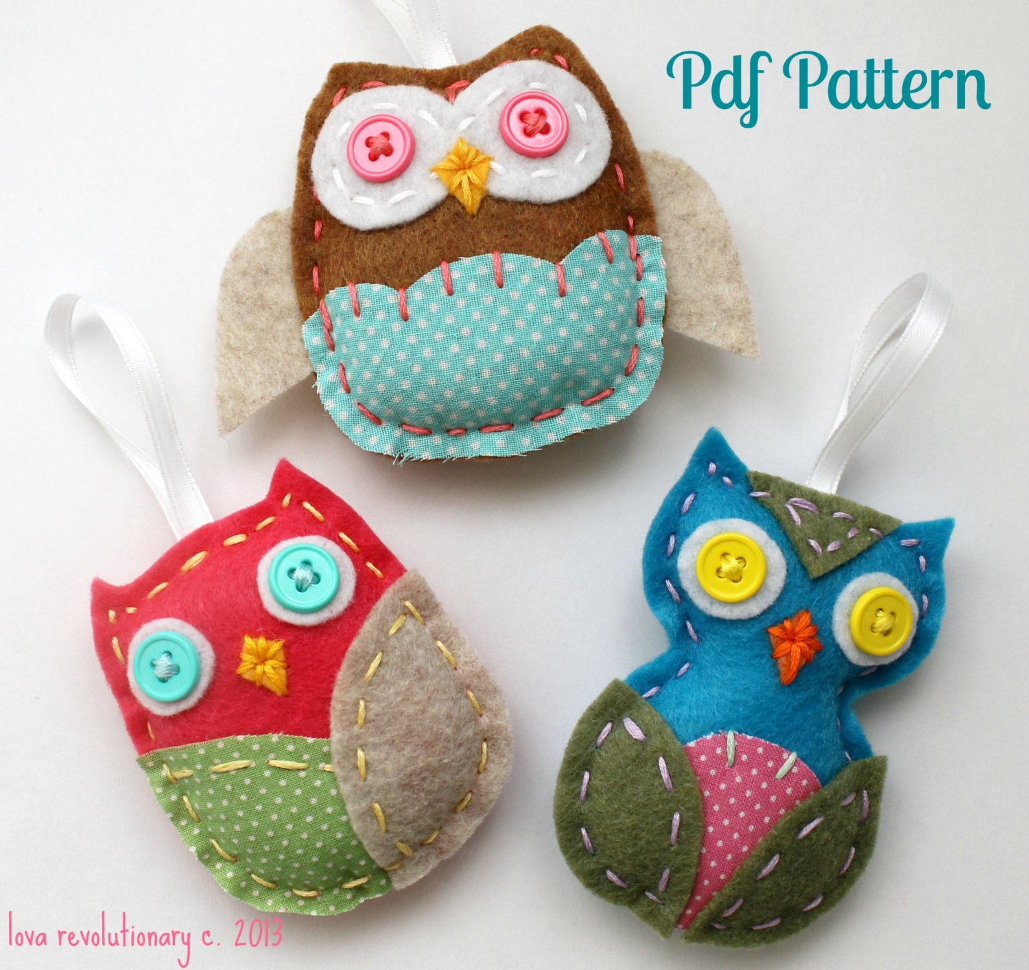 felt owl pdf pattern ornaments hand sewing embroidery
