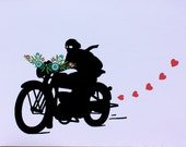 Motorcycle lover with flowers (1 card)