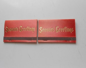 Vintage Set of 2 Season's Greetings Lg Books of Matches from First State Bank  in Iowa