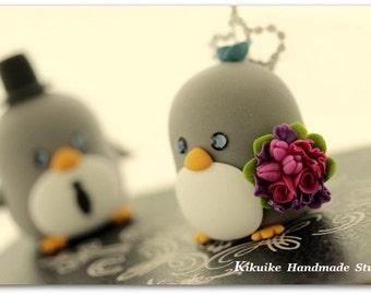 penguins bride and groom Wedding Cake Topper (K425)