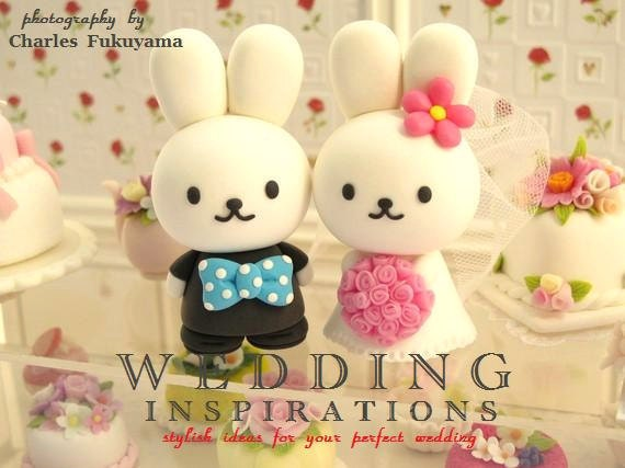 rabbit and bunny Wedding Cake Topper---k962