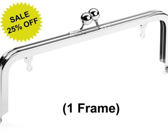 """1pc - 8"""" x 3"""" Nickel Purse Frame with Large Ball Clasp and Chain Loops - Free Shipping (PURSE FRAME FRM-112)"""
