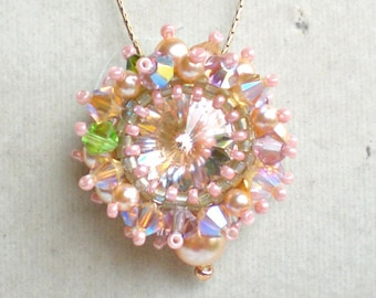 Rivoli Swarovski Crystals Pearls Pink Green Pendant Beadwoven Beaded Beadweaving Unique Jewelry Rising Star