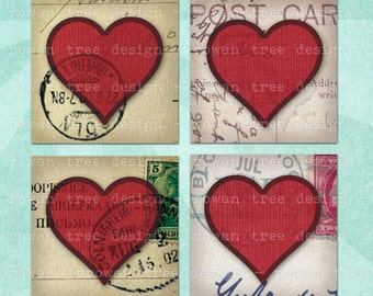 Digital Collage Sheet HEARTS ON POSTCARDS 1.5in or 1in Squares Valentine - no. 0167