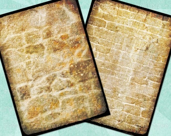 Digital Collage Sheet ULTRA-GRUNGY BRICKS 2.5x3.5in Backgrounds - no. 0082