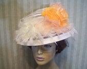 Ivory and Orange Kentucky Derby Hat Victorian Hat Wedding Hat Church Hat Wide Brim Hat Millinery By Ms.Purdy