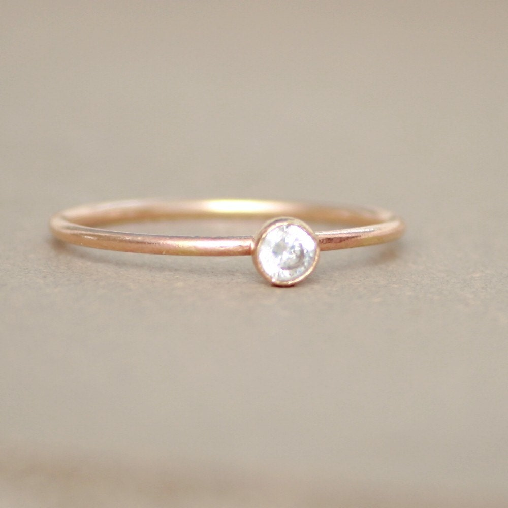 gold ring cz birthstone ring one by
