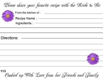 Bridal Shower Wedding Recipe Cards Personalized 40 Quantity