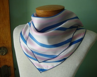 Vintage Scarf square scarf pink scarf blue scarf white scarf striped scarf nautical royal blue stripes light pink stripes snow white scarf
