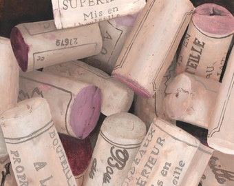 French Wine Corks Print from Original Realism Painting 8x10 - Great Unique Gift