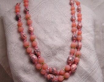 Vintage W Germany 2 Strand Pink Necklace J57