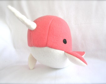 Handmade narwhal plush toy- Cora- Coral Pink fleece whale narwal plushie