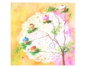 CUPCAKE TREE And Paper Moon - Original Fantasy Watercolor by Rodriguez