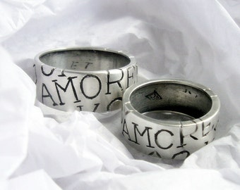 Amore custom ring, personalized jewelry, engraed with your design and name,  commitment, wedding, initial, letter,
