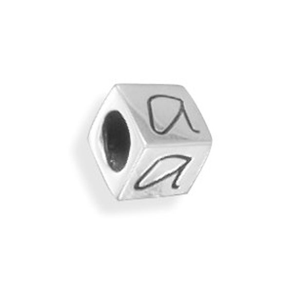 Silver Alphabet Beads: Sterling Silver Cube Letter Beads Alphabet Cube Bead