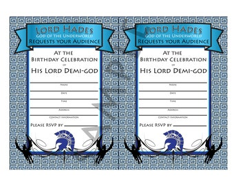 Demi-god/Percy Jackson Inspired/Greek God/ Half-Blood Theme Birthday DIY Invitation-Classic Blue Child of Hades Demi-god Boy,Girl- Digital