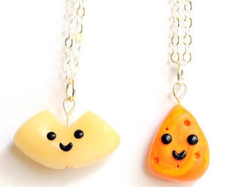 Kawaii Best Friends Macaroni and Cheese Necklaces Miniature Food Jewelry