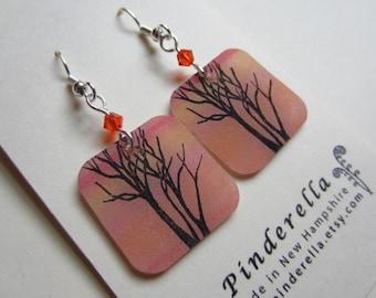 Translucent Botanical Tree earrings with beads in soft tangerine orange