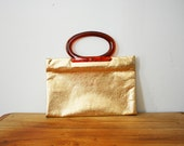 vintage 60s Gold Shimmer Shoppers Fold Out Tote