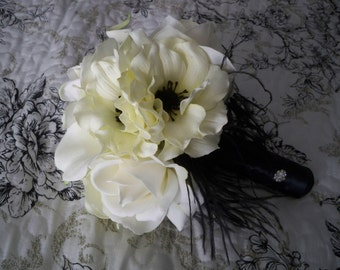 So Sweet Small Bridal Bridesmaid Toss Realtouch Rose and Calla lily Silk anemones Bouquet