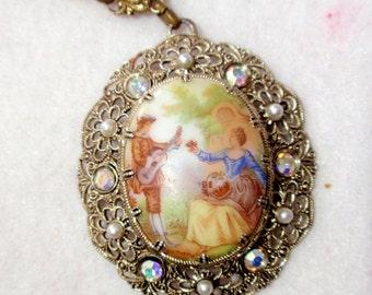 West Germany Vintage Filigree Necklace With Fragonard Serenade Scene Cameo Cabochon C2