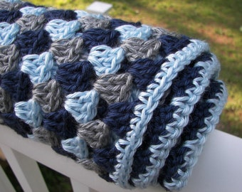 Blue and Gray Baby Blanket - Baby Boy Blanket - Granny Square Crochet Blanket - Stripes - Ready to Ship - Soft Yarn - Baby Shower Gift