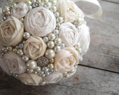 Ivory Rosette, Rhinestone and Pearls Pomander- Fabric Flower Kissing Ball, Vintage Style Wedding Bouquet