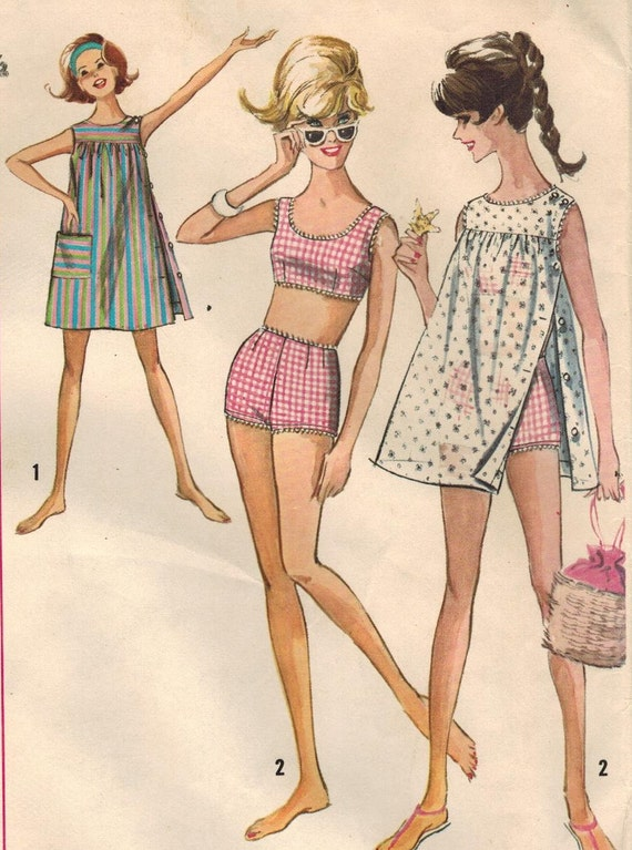 1960s Simplicity 5018 Vintage Sewing Pattern Junior's 2-piece Bathing Suit and Dress, Beach Coverup Size 11 Bust 31-1/2