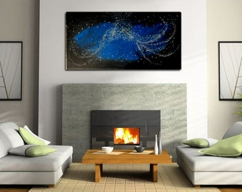 Large Blue Abstract Painting Silver Accents Urban Wall Art Original Painting Ready to Hang and Ship 48x24